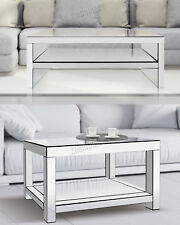 FoxHunter Mirrored Furniture Glass Coffee Table 2 Tier Desk Living Room Home New