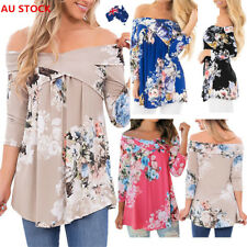 AU Women Off Shoulder Casual Long Sleeve Tops Floral Loose Beach  Shirt Blouse