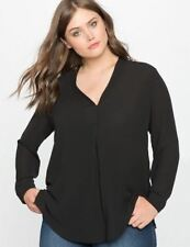 Women Chiffon Fabric  Full Sleeve Plus Size Black Color V-neck Top