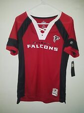 NEW MAJESTIC NFL Team Apparel  ATLANTA FALCONS V-Neck Jersey Shirt Womens NWT