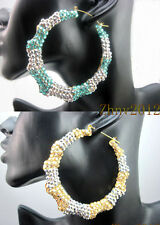 Basketball Wives Inspired Mix color Rhinestone Bamboo Joint Hoop Earrings,ZE155
