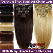 Luxury Clipin Remy Human Hair Extension Real Thick Double&Single Weft Full Head