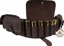 Leather Cartridge Belt Holder Ammo Bandolier 24x 12Ga Hunting Shotgun Shell Case