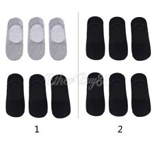 6 Pairs Men Casual Cotton Loafer Boat Non-Slip Invisible Low Cut No Show Socks