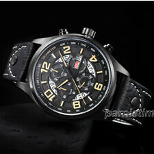 Parnis 43mm Japan Quartz Chronograph Men's Wristwatch 10 ATM Sports Style Watch
