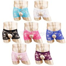 Sexy Men's Sheer See Through Boxer Briefs Lace Thong Shorts Open Butt Underwear