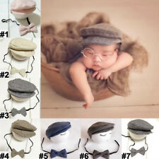 Baby Newborn Peaked Beanie Cap Hat + Bow Tie Photography Photo Prop Outfit Set
