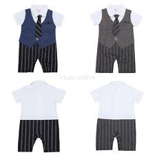 Infant Baby Boys Formal Striped One-piece Romper Jumpsuit Tuxedo Suit Outfits