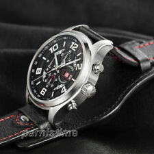 43mm Parnis 10 ATM Date Day 12-Hours Japan Quartz Chronograph Men's Pilot Watch