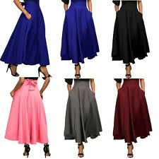 Ladies High Waisted Back Bow Tie Retro Pleated Belted Maxi Skirt ** Stunning **