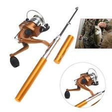 Mini Fishing Tackle Pocket Pen Kit Rod Pole + Spin Reel Combos Wheel Tool N5S2