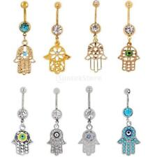 Crystal Fatima Hand Dangle Belly Button Ring Bar Body Piercing Charms Jewelry