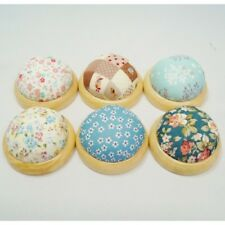 Vintage Style Round Wooden Base Pin Cushions in Six Designs Sewing Accessories