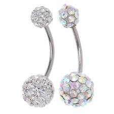Elegant Navel Belly Button Ring Barbell Rhinestone Crystal Ball Piercings