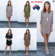 AU Women Casual Long Sleeve V-Neck Loose Chiffon T Shirt Top Blouse Gothic Dress