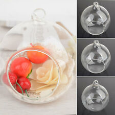 Clear Stylish Glass Round Hanging Candle Tea Light Holder Candlestick Decors 6/8