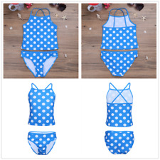 Kids Girls Polka Dots Tankini Bikini Swimwear Swimsuit Bathing Suit Beachwear