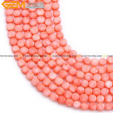 """Red Pink Dyed 6mm Flat  Coin Coral Gemstone Beads Loose Strand 15""""Wholesale"""