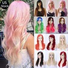Hot Sale Pink Ombre Wig With Bang Heat Resistant Synthetic Hair Costume Full Wig