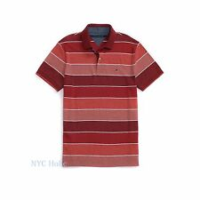 New Tommy Hilfiger Mens Polo Shirt Custom Fit Cotton Red Stripe Large NWT