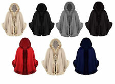 Womens Ladies Faux Fur Hooded Poncho Cape Jacket Coat Top Size UK 8-16