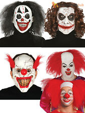 Adults Horror Clown Joker Latex Mask Halloween Hair Wig Fancy Dress Accessory