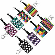 Set Of 4 Novelty 3D Coloured & Zig Zag Rubber Travel Holiday Luggage Name Tags