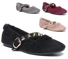 LADIES WOMENS CASUAL FLAT SLIP ON FUR STUDS STRAP PUMPS WALKING LOAFERS SHOES