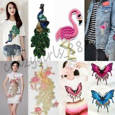 Flamingos Sewing Iron On Clothes Embroidery Sticker Appliques Patches Badge DIY
