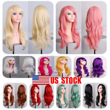 US Women Ladies Halloween Long Cury Hair Cosplay Party Heat resistance Full Wig