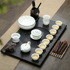 authentic yixing zisha tea set black stone tea tray table Chinese tea pot cups