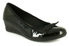 New Ladies/Womens Black Patent Low Heels Slip On Wedges/Shoes With Bow UK SIZES