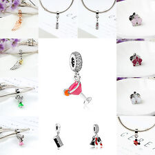 European New Lucky Silver Charms Bead Pendant Fit 925 Sterling Bracelet Chain