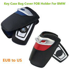 Blue Red Genuine Leather Key Case Bag Cover FOB Holder For BMW 3 5 7 Series