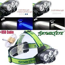 5X LED T6 LED Headlamp USB Rechargeable 80000Lumen 18650 Headlight Flashlight