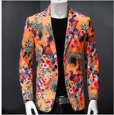 Mens One Button Slim Fit Floral Causual Dress Nightclub Coat Jacket 4XL