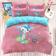 Cute Kitty Cat With Blue Polka Dot Hat Print Winter Wolly Cosy Bed Set Queen