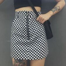 Women Vintage Black White Color Plaid Zipper Slim Fit Short Skirt