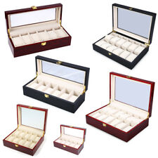 12 Slots Wood Watch Display Case Watch Box Glass Top Jewelry Storage Organizer