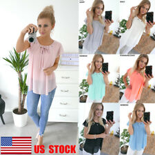 US Women Chiffon Top Ruffle Short Sleeve Shirt Lace Up T-Shirt Casual Tee Blouse