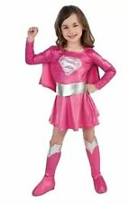 Pink Supergirl Superman Superhero Costume Fancy Dress - Size 3-8 Free Boot Cover