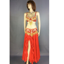 New Women's  Belly Dance hip scarf Costumes wear Bra&Belt&Skirt Set dance suit