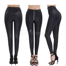Women Faux Leather Stretch Skinny High-waisted Zipper Pants Legging Slim Trouser
