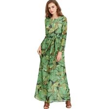 Plus Size Green Color Long Sleeve O Neck Polyester Knee Length Dress For Women