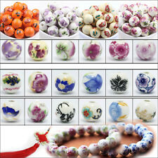 10/20Pcs Flower Pattern Round Ceramic Porcelain Loose Spacer Beads Craft 12mm