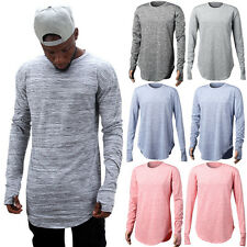 Men Long Sleeve Casual T-Shirt O Neck Tops Thumb Holes Basic Tee Long Hem Shirts