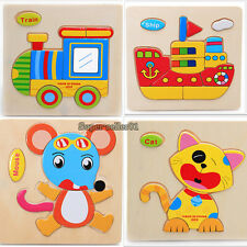 Cartoon Wooden Animals Jigsaw Puzzles Kids Intelligence Educational Toy Gifts