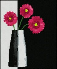 Modern Vase Red Flowers Needlepoint Kit or Canvas (Floral/Nature)