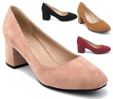 WOMENS LADIES LOW MID HEEL MARY JANE PLAIN WORK PARTY COURT SHOES PUMPS SIZE