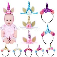 Kids Baby Girl Unicorn Horn Cat Ears Flower Head Bands Headwear Hair Clip Party